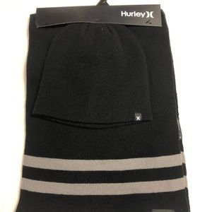 NWT Hurley Black Knit Beanie and Scarf Set
